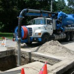 Hydro excavating for sanitary repair